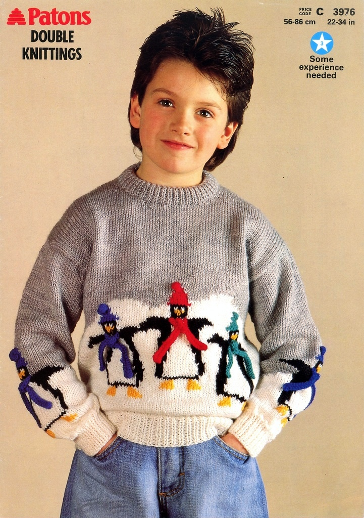 Patons Knitting Patterns Children : Knitting Pattern for Childrens Sweater with Penguin Motif to knit. Paton...