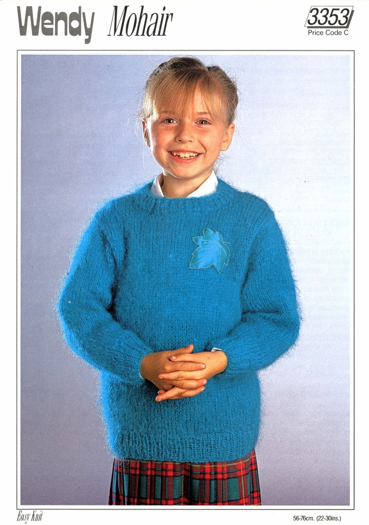 Knitting Pattern Childrens Mohair Round Neck Sweater 22-30