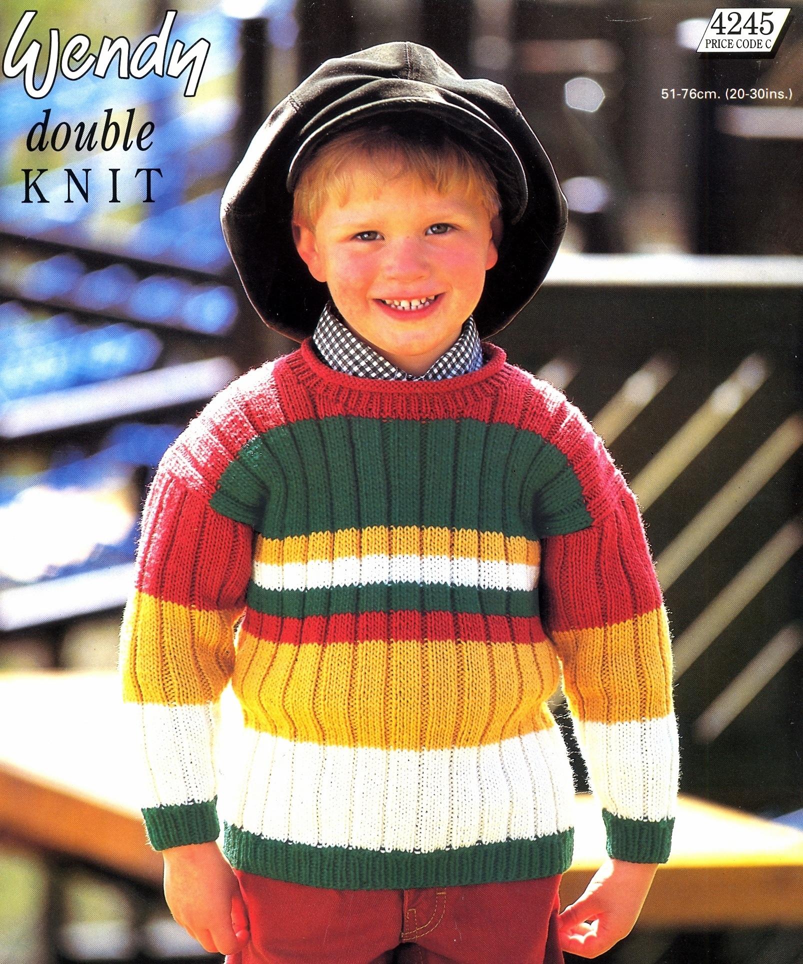 Knitting Pattern Childrens Stripe Rib Sweater to knit in DK Wendy 4245 ...
